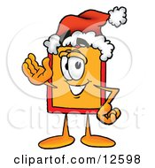 Clipart Picture Of A Price Tag Mascot Cartoon Character Wearing A Santa Hat And Waving