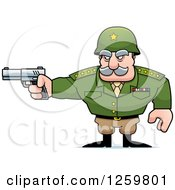 Clipart Of A Caucasian Army General Man Holding A Gun Royalty Free Vector Illustration