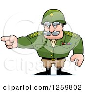 Clipart Of A Caucasian Army General Man Pointing Royalty Free Vector Illustration by Cory Thoman