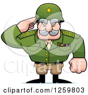 Clipart Of A Caucasian Army General Man Saluting Royalty Free Vector Illustration