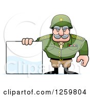 Clipart Of A Caucasian Army General Man Holding A Blank Sign Royalty Free Vector Illustration by Cory Thoman