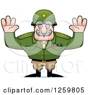 Clipart Of A Caucasian Army General Man Surrendering Royalty Free Vector Illustration by Cory Thoman