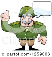 Clipart Of A Caucasian Army General Man Talking Royalty Free Vector Illustration
