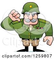 Clipart Of A Caucasian Army General Man Holding A Thumb Down Royalty Free Vector Illustration by Cory Thoman