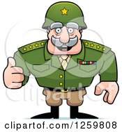 Clipart Of A Caucasian Army General Man Holding A Thumb Up Royalty Free Vector Illustration by Cory Thoman