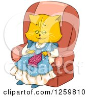 Clipart Of A Happy Ginger Cat Granny Knitting In A Chair Royalty Free Vector Illustration