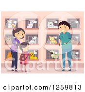 Clipart Of A Girl And Mother Looking For A Cat At A Shelter Royalty Free Vector Illustration