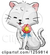 Clipart Of A Cute Cat Wearing A Ribbon Medal Royalty Free Vector Illustration