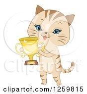 Clipart Of A Cute Beige Cat Holding A Trophy Cup Royalty Free Vector Illustration