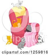 Clipart Of A Group Of Cats On And Around A Chair Royalty Free Vector Illustration