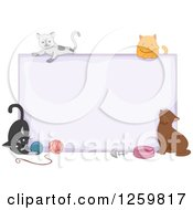 Clipart Of A Blank Sign With Cats And Accessories Royalty Free Vector Illustration