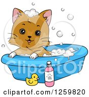 Clipart Of A Happy Brown Cat Taking A Bubble Bath Royalty Free Vector Illustration