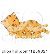 Clipart Of A Happy Ginger Tabby Mother Cat Nursing Her Kittens Royalty Free Vector Illustration