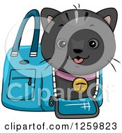 Clipart Of A Happy Black Cat Emerging From A Carrier Bag Royalty Free Vector Illustration