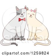 Clipart Of A Cute Happy Cat Couple With Bows Royalty Free Vector Illustration