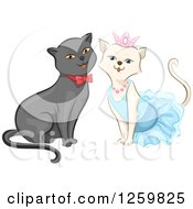 Clipart Of A Cute Happy Cat Couple Dressed Up Royalty Free Vector Illustration