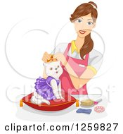 Clipart Of A Brunette Caucasian Woman Dressing Up A Spoiled Cat Royalty Free Vector Illustration