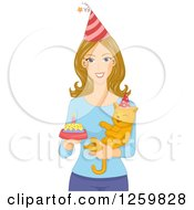 Clipart Of A Happy Caucasian Holding A Cake And Her Birthday Cat Royalty Free Vector Illustration by BNP Design Studio