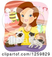 Clipart Of A White Woman Boutique Owner With Two Cats Royalty Free Vector Illustration