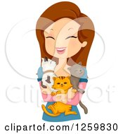 Clipart Of A Happy Brunette White Woman Holding Three Cats Royalty Free Vector Illustration