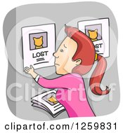 Clipart Of A Sad Caucasian Woman Posting A Lost Cat Sign Royalty Free Vector Illustration