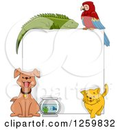 Clipart Of A Pet Sign With An Iguana Parrot Dog Fish And Cat Royalty Free Vector Illustration by BNP Design Studio