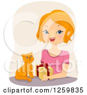Clipart Of A Happy White Woman Giving A Present To A Ginger Cat Royalty Free Vector Illustration