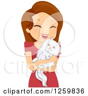 Clipart Of A Brunette White Woman Hugging Her Persian Cat Royalty Free Vector Illustration