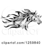 Clipart Of A Running Gray Horse Mascot Royalty Free Vector Illustration