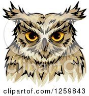 Clipart Of A Yellow Eyed Owl Mascot Royalty Free Vector Illustration by BNP Design Studio