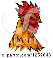 Clipart Of A Rooster Head Mascot Royalty Free Vector Illustration