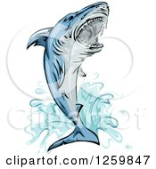 Clipart Of A Jumping Attacking Shark Mascot Royalty Free Vector Illustration