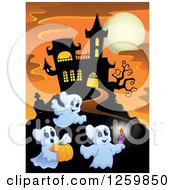 Clipart Of A Haunted House On A Hill With Festive Halloween Ghosts Against A Full Moon At Sunset Royalty Free Vector Illustration