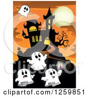 Clipart Of A Haunted House On A Hill With Halloween Ghosts Against A Full Moon At Sunset Royalty Free Vector Illustration