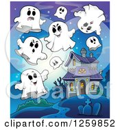 Clipart Of A Haunted House With Ghosts Against A Full Moon Royalty Free Vector Illustration