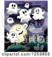 Clipart Of A Haunted House With Ghosts Against A Full Moon With Vampire Bats Royalty Free Vector Illustration