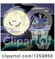 Clipart Of A Full Moon And Haunted House With Bats On A Misty Night Royalty Free Vector Illustration