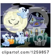 Clipart Of A Haunted House With Festive Halloween Ghosts Against A Full Moon Royalty Free Vector Illustration
