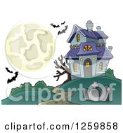 Clipart Of A Full Moon And Haunted House With Bats Royalty Free Vector Illustration