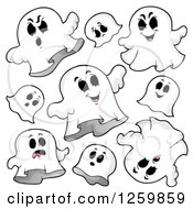 Clipart Of Halloween Ghosts Flying Royalty Free Vector Illustration
