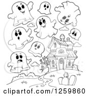 Clipart Of Black And White Halloween Ghosts Flying Around A Haunted House Royalty Free Vector Illustration