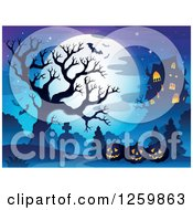 Clipart Of A Full Moon And Haunted House With Jackolanterns A Bare Tree And Bats Royalty Free Vector Illustration