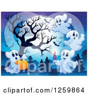 Clipart Of A Full Moon Bare Tree And Festive Halloween Ghosts In A Cemetery Royalty Free Vector Illustration