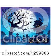 Clipart Of A Full Moon And Scarecrow With Jackolanterns A Bare Tree And Bats In A Cemetery Royalty Free Vector Illustration by visekart