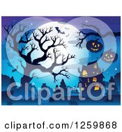 Clipart Of A Full Moon Bare Tree And Jackolanterns Over Graves Near A Haunted House Royalty Free Vector Illustration by visekart