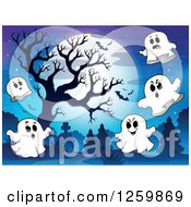 Clipart Of A Full Moon Bare Tree And Flying Ghosts In A Cemetery Royalty Free Vector Illustration