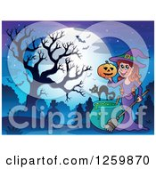 Clipart Of A Halloween Witch Girl Holding A Jackolantern Over A Cauldron In A Cemetery Royalty Free Vector Illustration by visekart