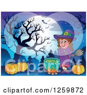 Clipart Of A Halloween Witch By A Auldron In A Cemetery Royalty Free Vector Illustration by visekart