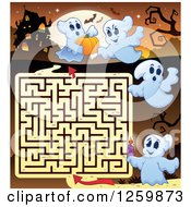 Clipart Of A Haunted House Halloween Maze With Ghosts Against A Full Moon Royalty Free Vector Illustration