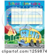Clipart Of A School Timetable With A School Bus Royalty Free Vector Illustration by visekart